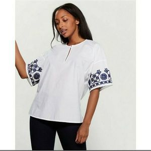 Tory Burch Amy Embroidered Poplin Top